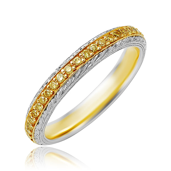 0.37 ctw Fancy Intense Yellow Diamond Eternity Band in Platinum/18kt YG