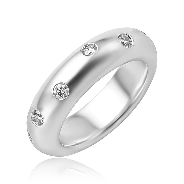 0.65 ctw Round Brilliant Cut Diamond Domed Band in 18kt WG