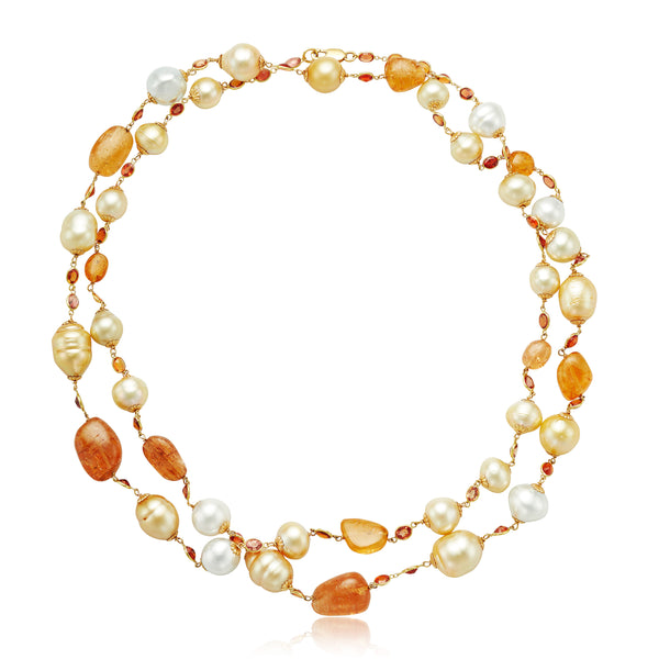 Golden South Sea Pearl Necklace with Opals in 18kt YG