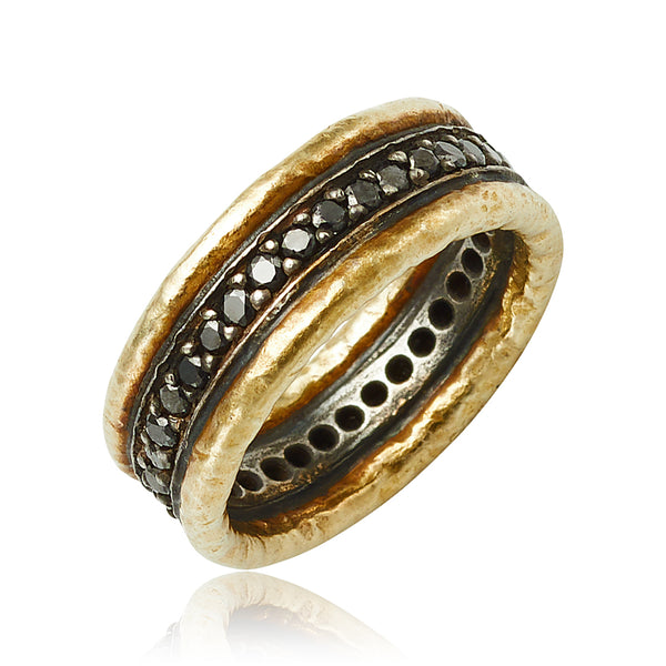0.60 ctw Black Diamond Eternity Band in 24kt YG