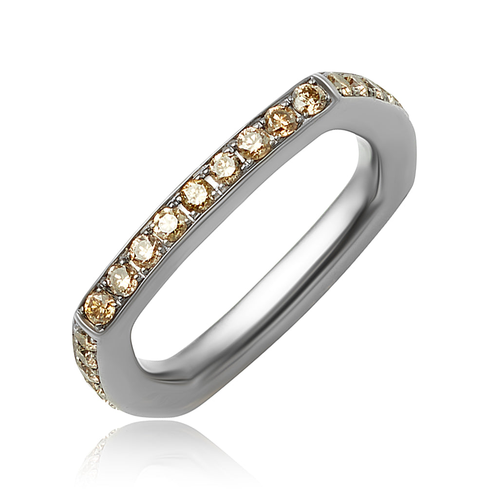 0.96 ctw Round Brilliant Cut Champagne Diamond Square Eternity Band in 18kt Black Gold