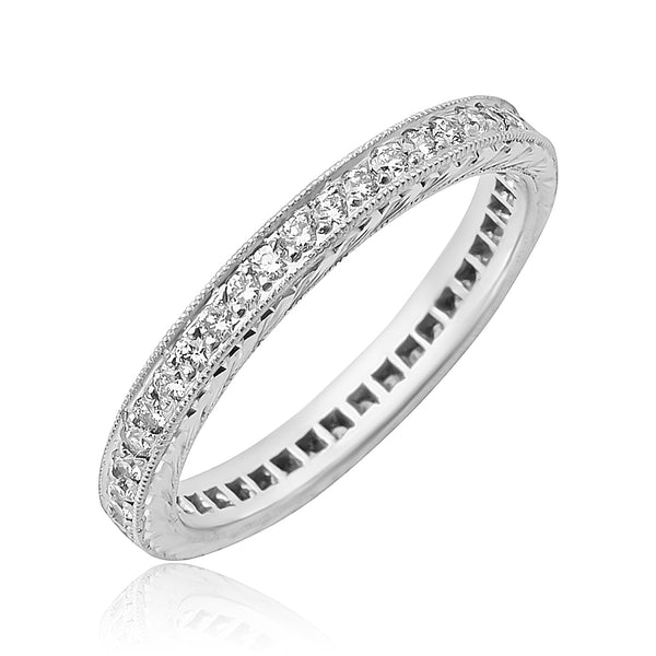 0.43 ctw Diamond Channel Set Engraved Eternity Band in Platinum