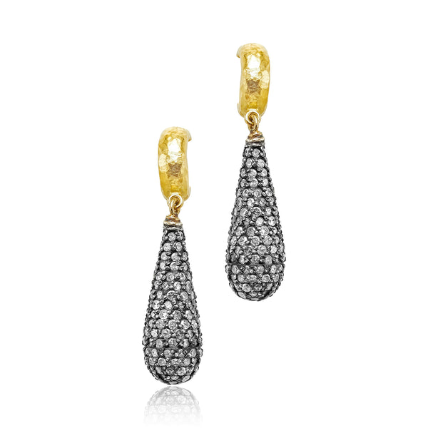 6.04 ctw Diamond Pave Drop Earrings in 24kt YG