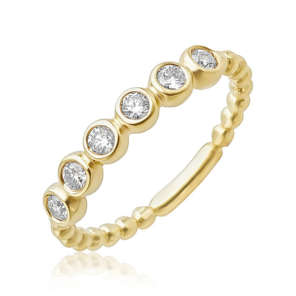 0.30 ctw Diamond Beaded Stackable Band in 18kt YG