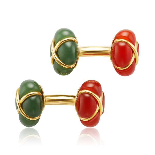 Carnelian and Jade Cufflinks in 18kt YG