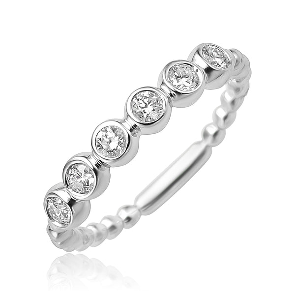 0.30 ctw Diamond Beaded Stackable Band in 18kt WG