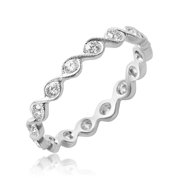 0.50 ctw Round Brilliant Cut Diamond Stackable Band in 18kt WG