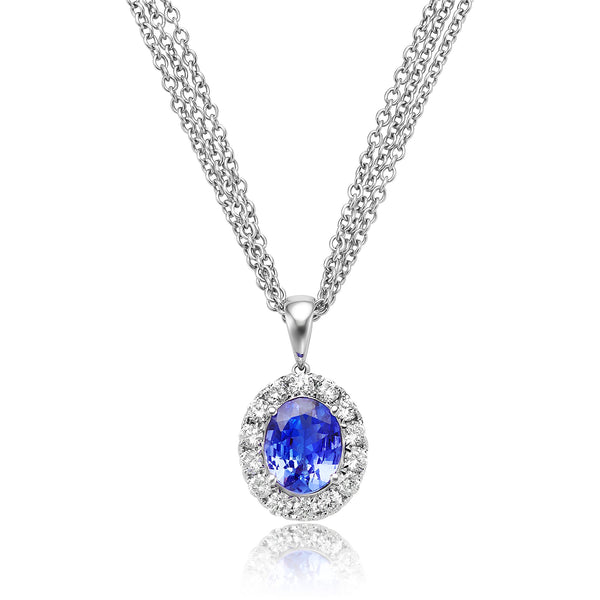 2.56ct Oval Tanzanite & 0.94ctw (14x) Round Brilliant Cut Diamond Pendant in 18kt WG