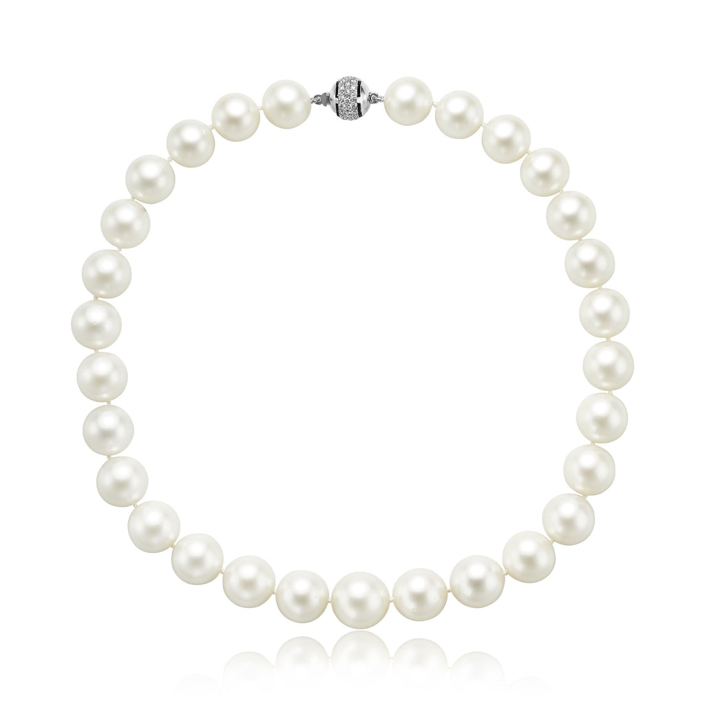 "18"" (37x) South Sea Cultuted Pearl Necklace with 0.70ctw Diamond Clasp in 18kt WGdiamonds"