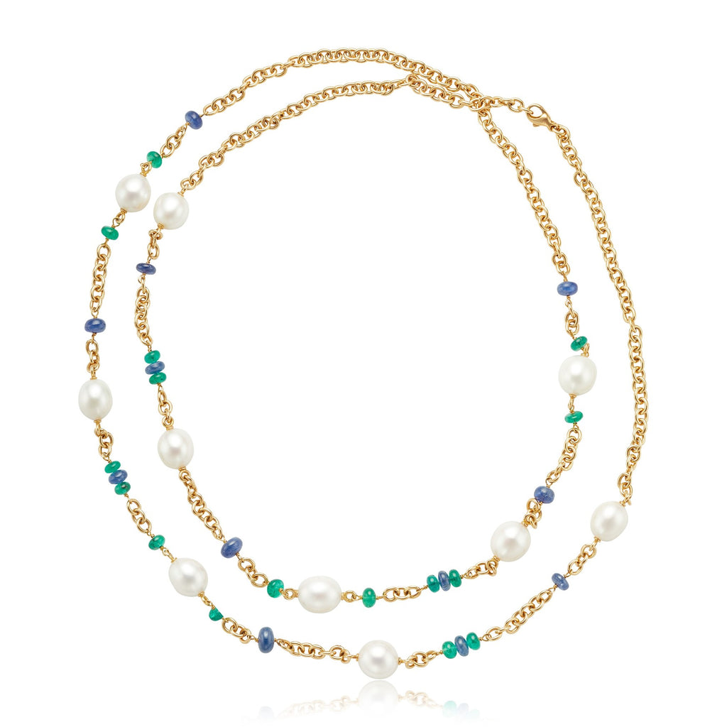 Cultured Pearl 15.36ctw Emerald & 26.55ctw Sapphire Bead Necklace in 18kt RG
