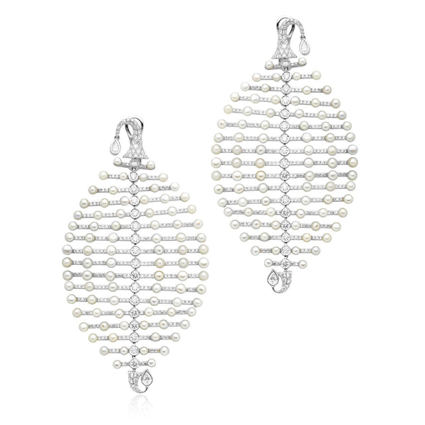 Pearl & Diamond Flexible Leaf Motif Earrings