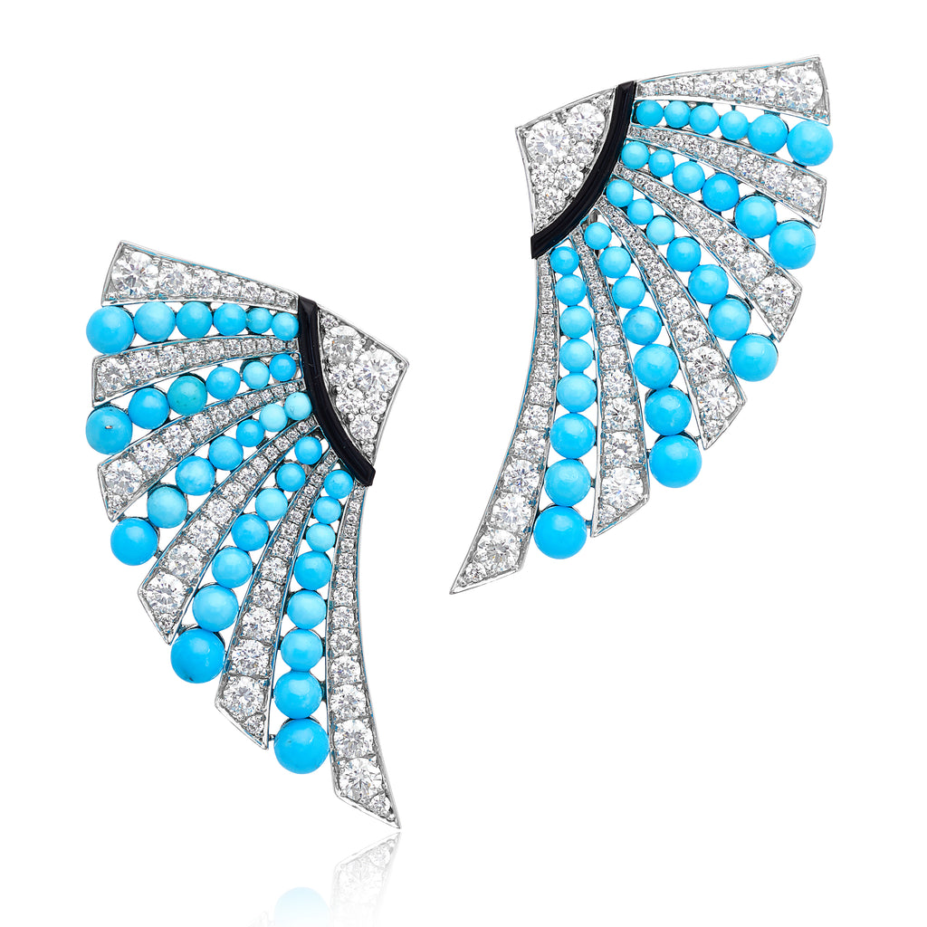 Turquoise, Diamond & Onyx Fan Earrings in 18kt WG