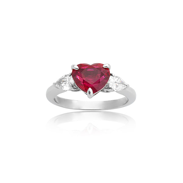 2.53ct Heart-Shaped Ruby (AGL) & 0.56ctw Pear-Shaped Diamond Ring in Platinum