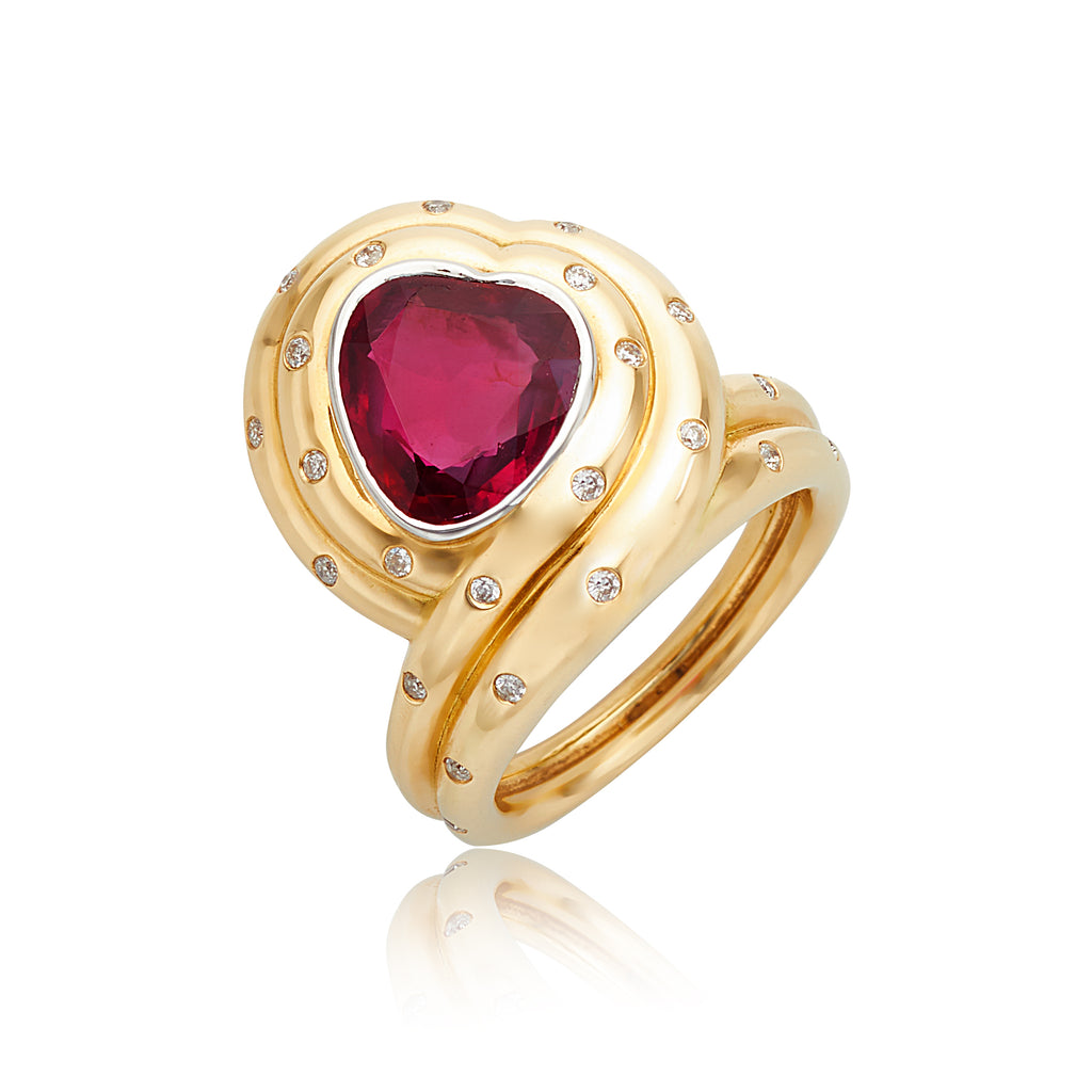 3.16ct Heart-Shape Ruby & Diamond Ring in 18kt YG & Platinum