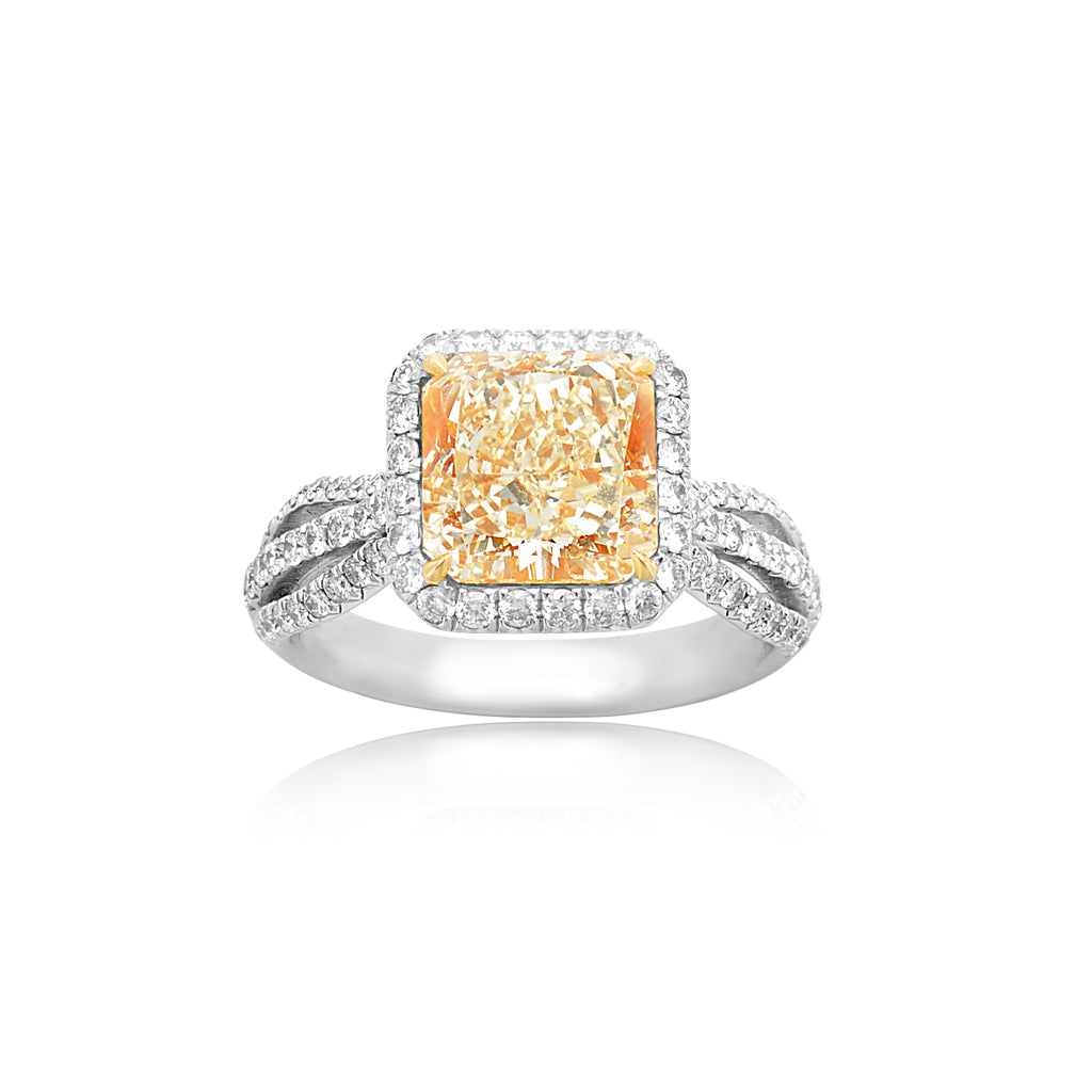 3.56ct Fancy Yellow Diamond with 0.84ctw RBC in Split Shank Ring in 18kt White Gold