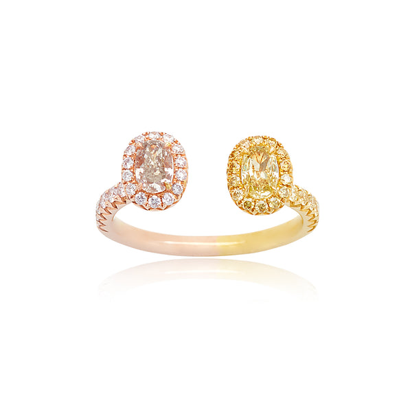 0.38ct Oval Fancy Pink Dimaond & 0.28ct Oval Fancy Yellow Diamond Ring with 0.38ctw Round Diamonds in 18kt in YG & RG