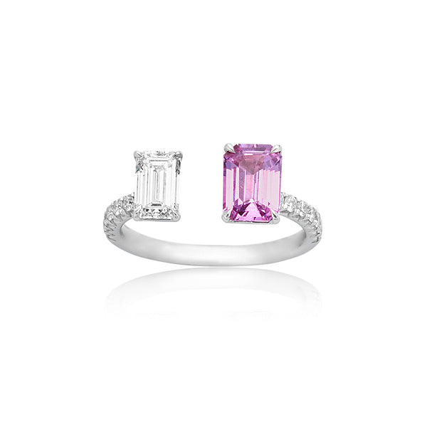 1.21ct Emerald Cut Pink Sapphire & 0.70ct Emerald Cut Diamond Ring in 18kt WG