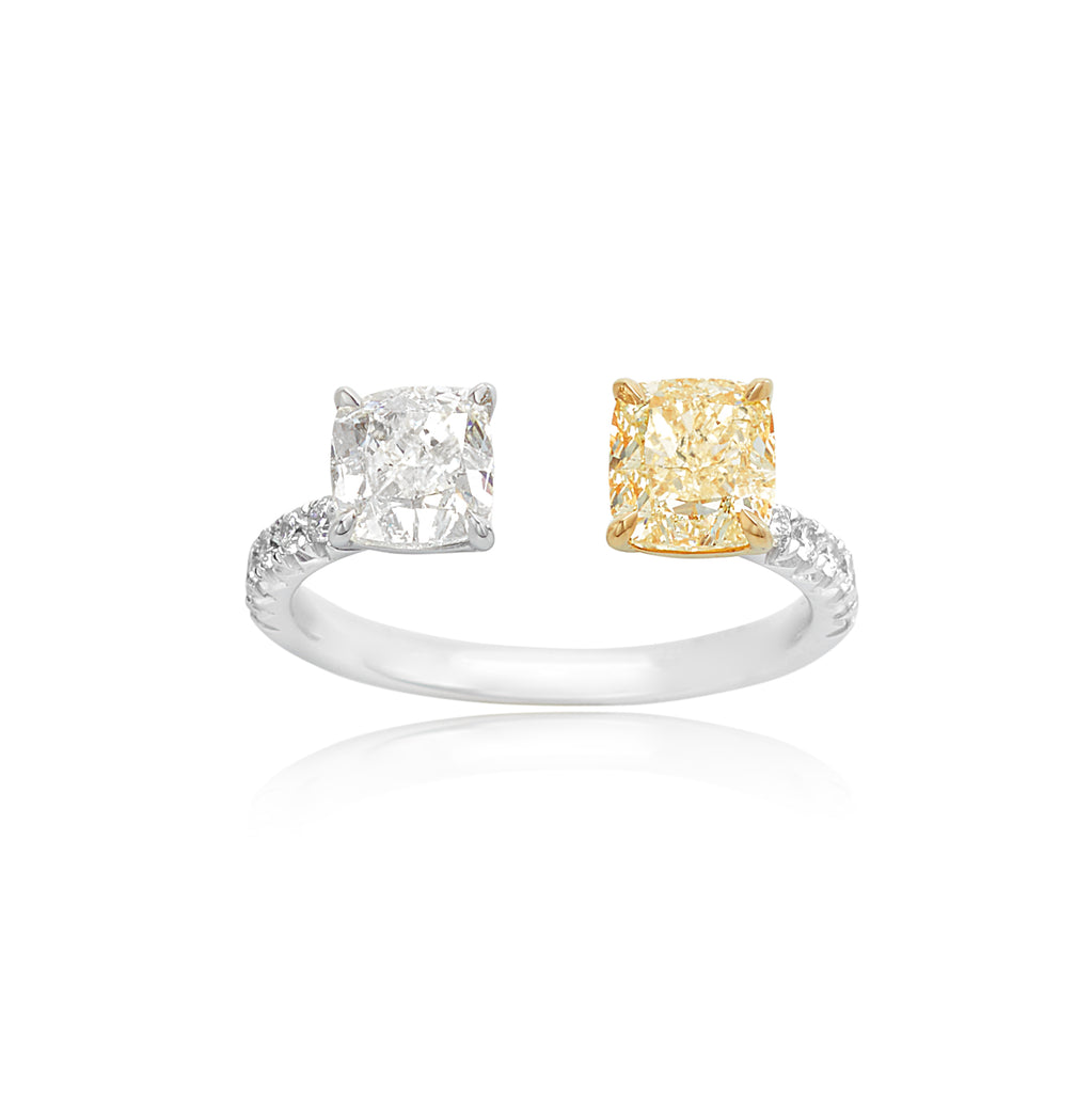 1.14ct Fancy Light Cushion & 1.00ct Cushion Diamond Ring with 0.22ctw RBC in the Shank 18kt WG