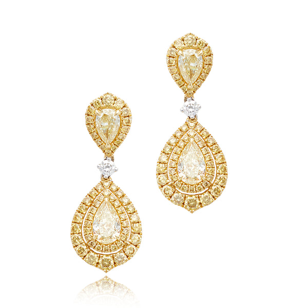 1.04ctw Pear-Shape Yellow Diamond, 0.78ctw Pear-Shape Yellow Diamond & 1.46ctw Round Yellow Diamond Earrings in 18kt YG