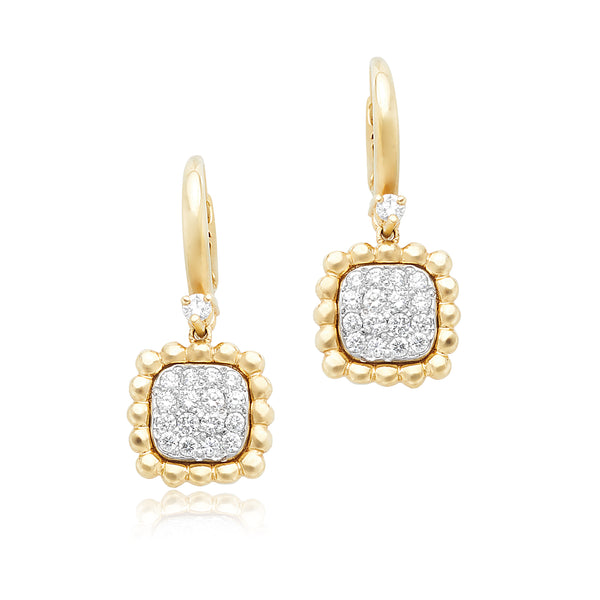 0.47ctw Round Brilliant Cut (RBC) Diamond Illusion Set Drop Earrings in 18kt YG