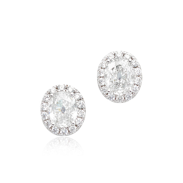 1.42ctw Oval Diamond Stud Earrings with Halo in 18kt WG