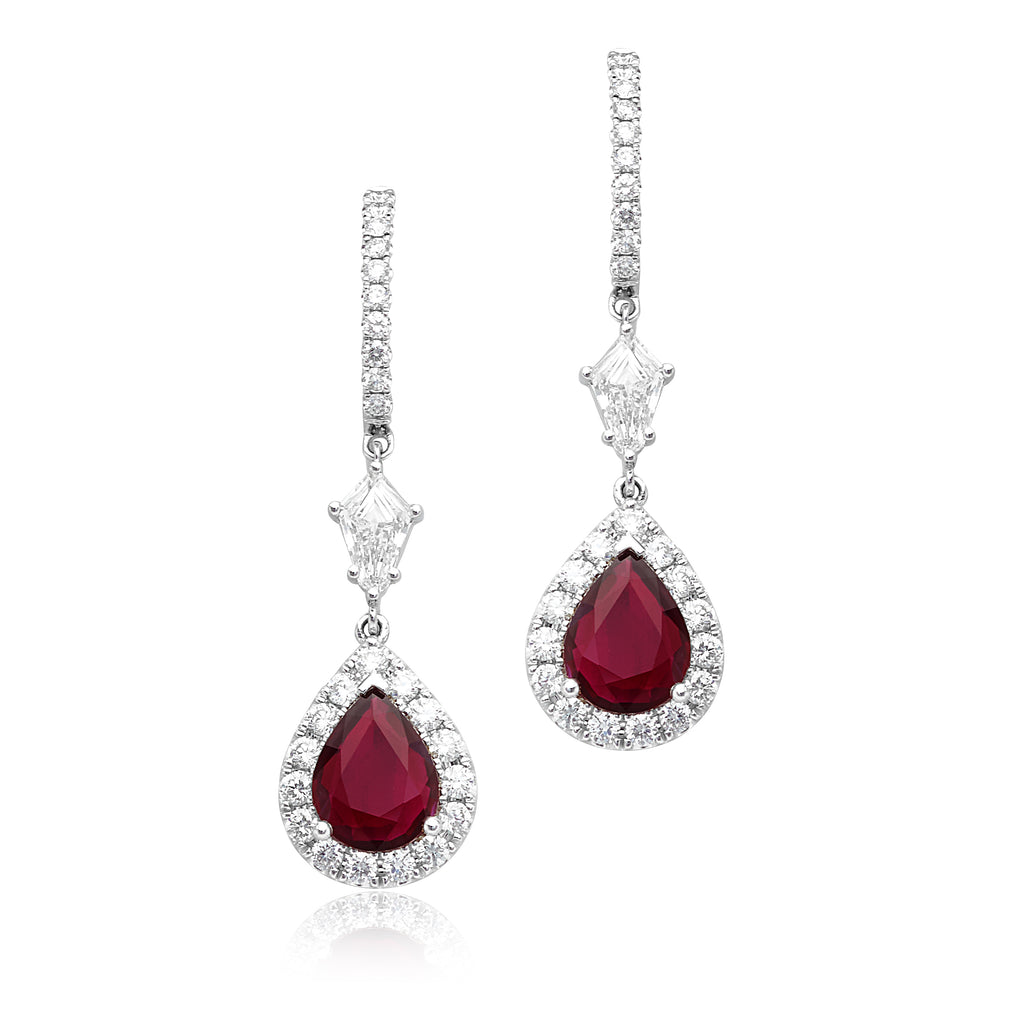 2.46ctw Pear-Shape Rubies with 0.74ctw Kite-Shape & 0.81ctw Round Brilliant Cut (RBC) Drop Earrings in 18kt WG
