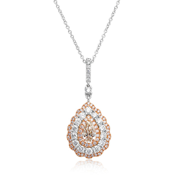 0.70ct Pear-Shaped Diamond Pendant with 0.31ctw Pink Diamonds & 0.82ctw Round Diamonds in 18kt WG