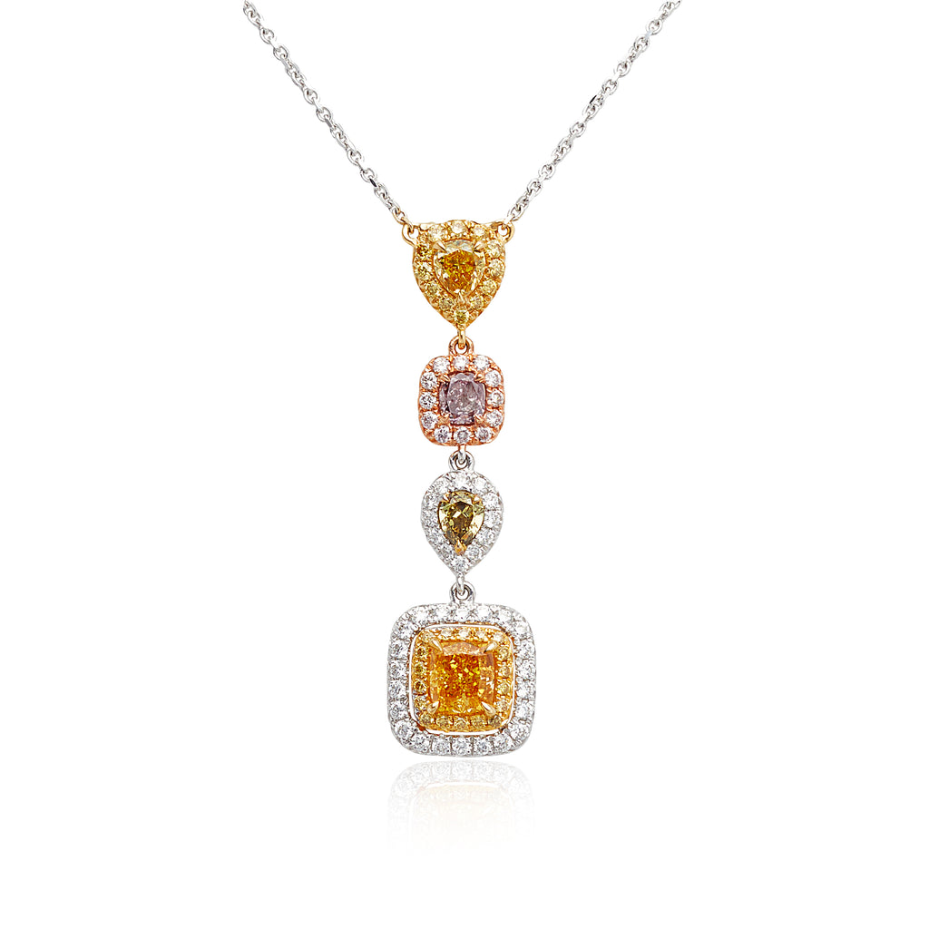 1.00ctw Fancy Color Diamonds & 0.43ctw Round Brilliant Cut (RBC) Diamond Four-Drop Pendant in 18kt WG/RG & YG