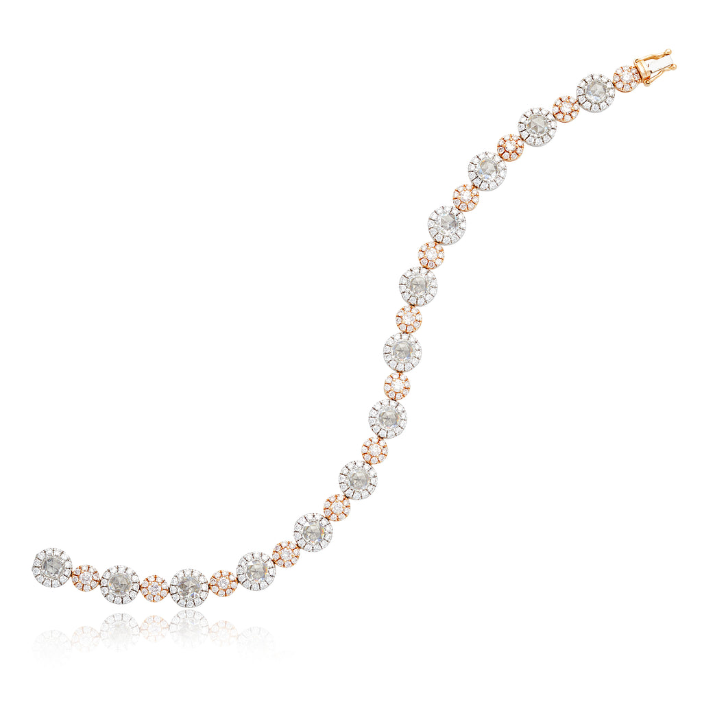 6.08ctw Pink and White Diamond Bracelet in 18kt WG & YG