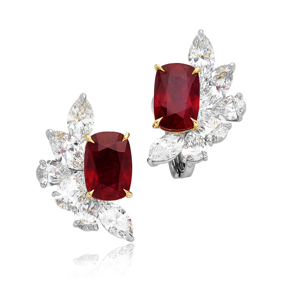 16.05ctw Cushion No Heat Ruby & 10.88ctw Diamond (GIA) Clip Earrings in Platinum & 18kt YG