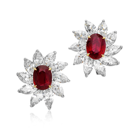 3.06ct/3.04ct Oval No Heat Rubies & 10.14ctw Diamond Earrings in Platinum & 18kt YG