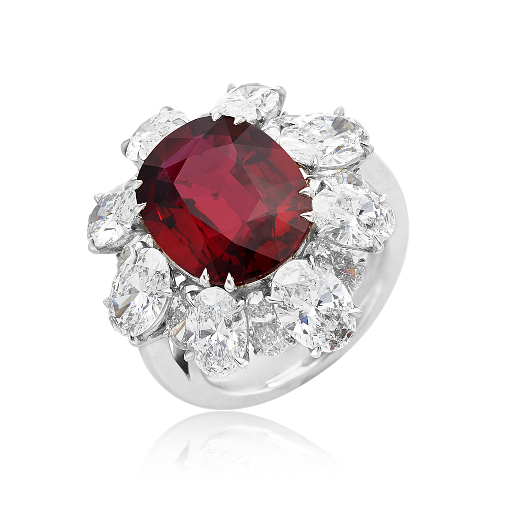 8.53ct Oval No Heat Ruby with 7.20ctw Oval Diamond Ring in Platinum