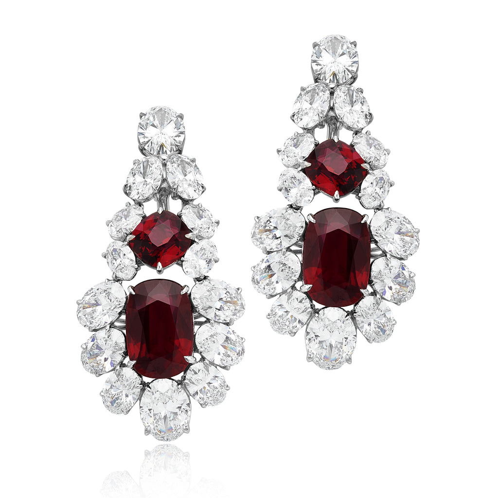 13.93ctw No Heat Rubies & 15.68ctw Diamond Drop Earrings in Platinum