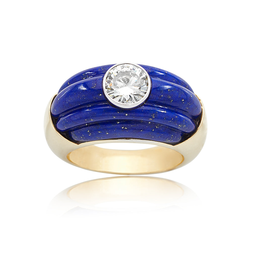 Carved Lapis Lazuli with 0.98ct Round Brilliant Cut (RBC) Diamond Ring in 18kt YG