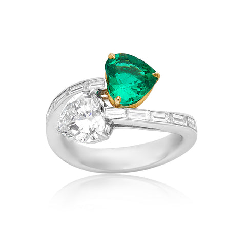 1.57ct Heart-Shape Diamond D VS2 (GIA) & 1.28ct Heart-Shape Emerald Ring with 0.88ctw Baguette Diamonds in Platinum