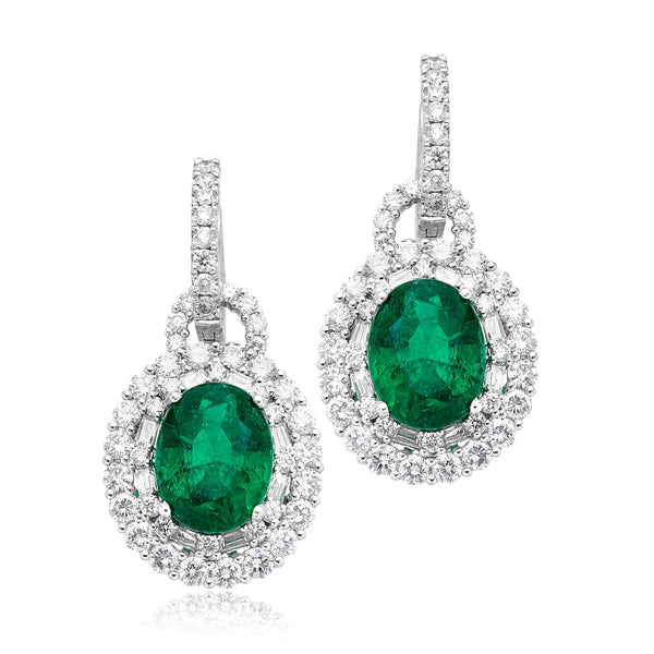 11.09ctw Oval Emerald & 4.86ctw Diamond Pave Earrings in Platinum