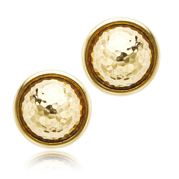 David Webb Hammered Dome Clip Earrings in 18kt YG