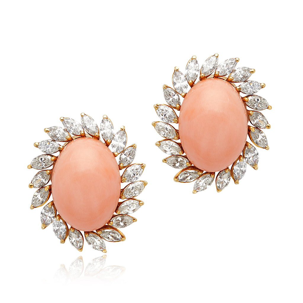 Angel-Skin Coral & 5.85ctw Marquise Diamond Earrings in 18kt YG