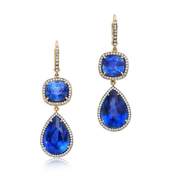 18.80ctw Pear- and 8.08ctw Cushion-cut Sapphire Drop Earrings with 0.72ctw Diamonds in 18kt YG