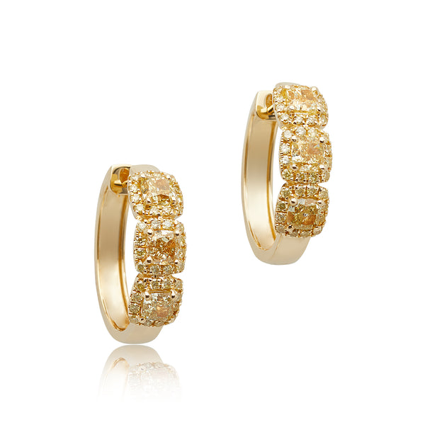 2.78ctw Yellow Diamond Halo Hoop Earrings in 18kt YG