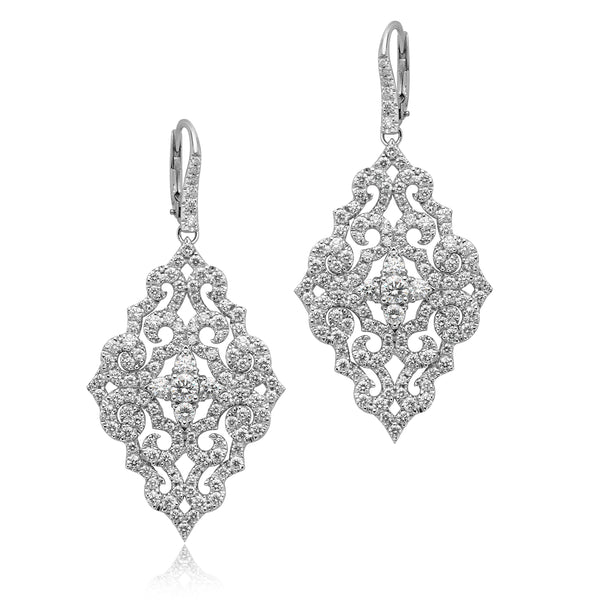 Filigree Earrings with 4.25ctw Round Diamonds in 18kt WG