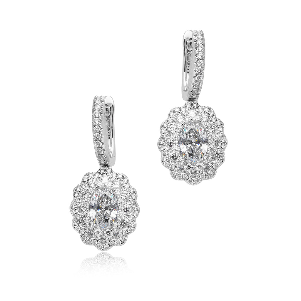 2.00ctw Oval Diamond Dangle Earrings with 1.67ctw Pave Diamonds in 18kt WG