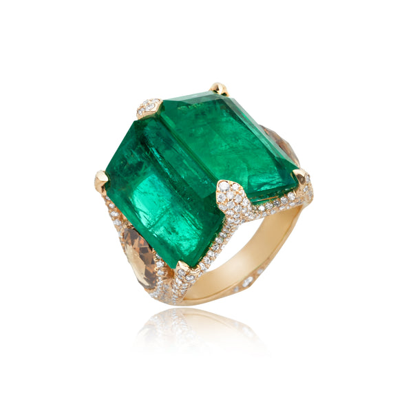 18.26ctw Twin-Emerald and Diamond Ring in 18kt RG