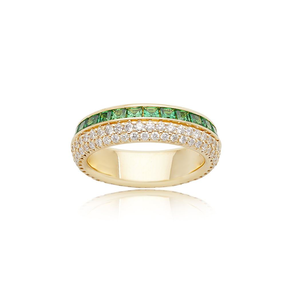 2.26ctw Tsavorite Garnet and 0.91ctw Diamond Split Channel-set Eternity Band in 18kt YG