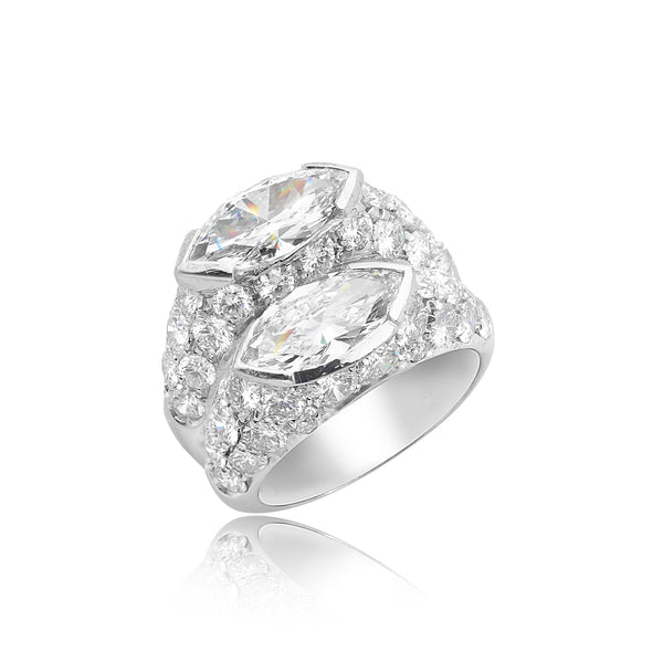1.17ct Marquise D VS1 (GIA) Diamond & 1.27ct Marquise D VS1 (GIA) Diamond Ring with 2.60ctw Pave Diamonds in 18kt WG