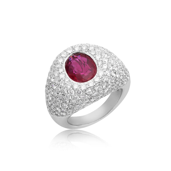 Oval Ruby Bezel-Set with Pave Diamond Ring in 18kt WG