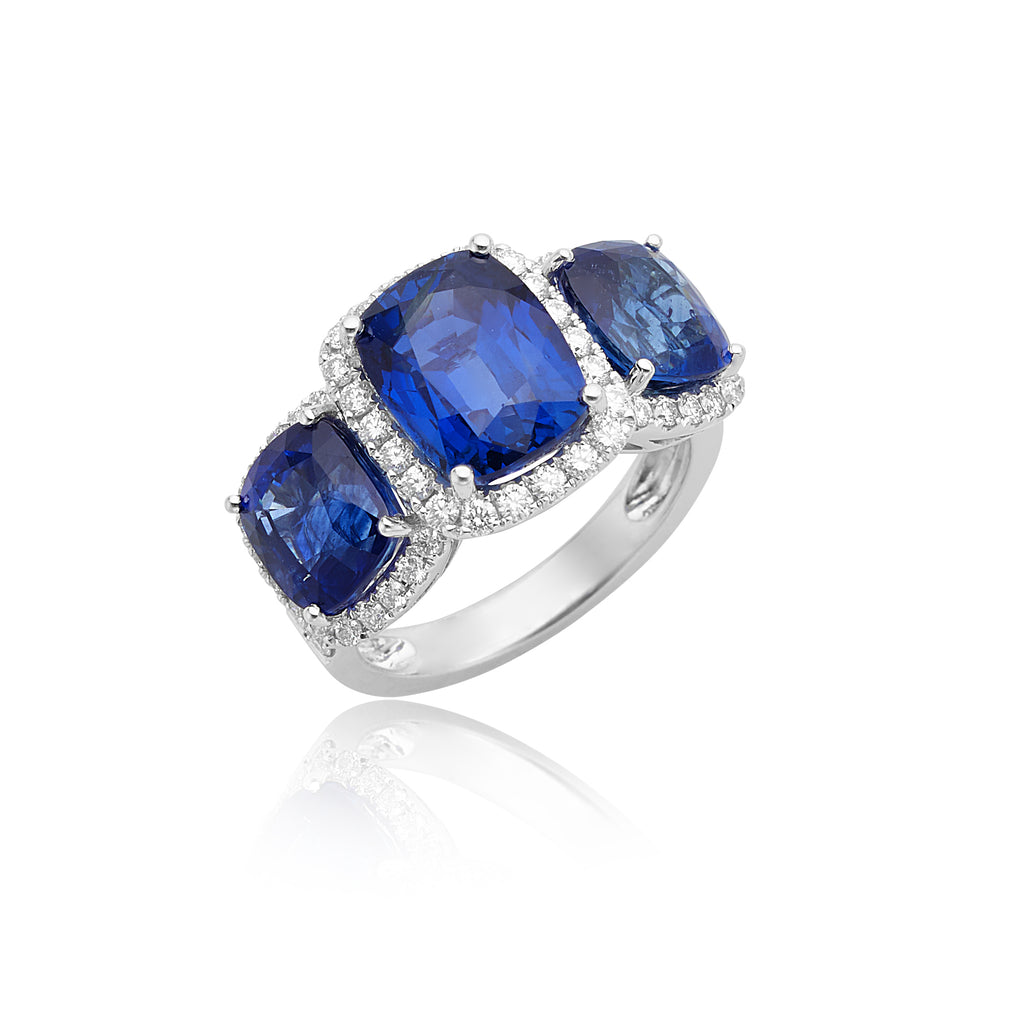 10.52ctw Cushion 3-Stone Sapphire Ring with Diamond Halos in 18kt WG