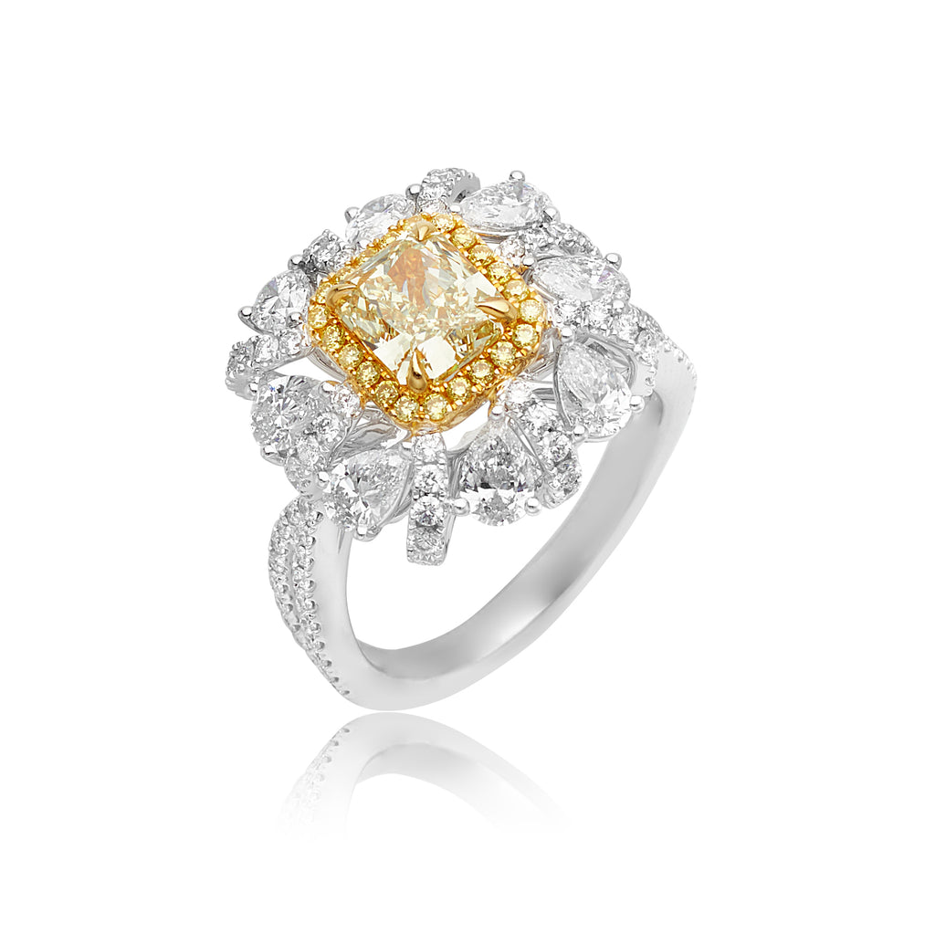 1.51ct Fancy Greenish Yellow Diamond and 2.27ctw White Diamond Ring in 18kt WG & YG