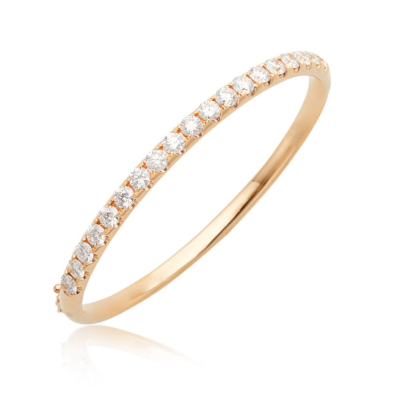 4.00ctw Round Brilliant Cut Diamond Hinged Bangle in 18kt RG