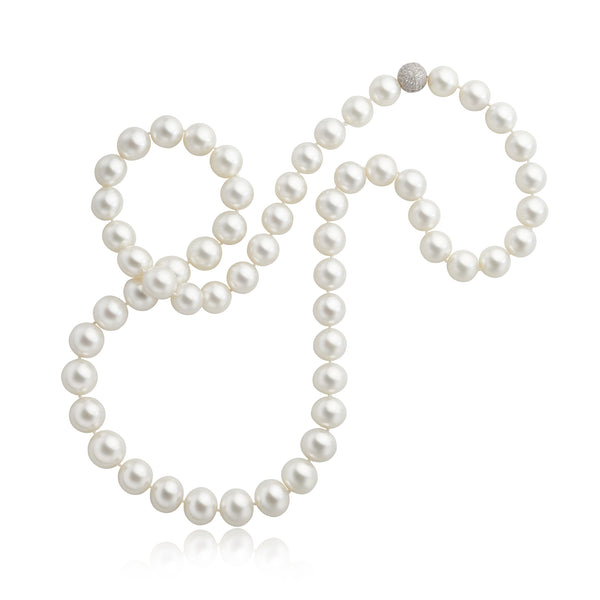 57pcs South Sea Pearl & 2.10ctw Diamond Ball Clasp Necklace